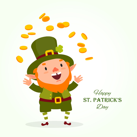 St.Patrick 's Day. Leprechaun, the traditional national character of Irish folklore, juggles with gold coins. Element of the set of leprechauns 02. Festive collection. Isolated on white background. 일러스트