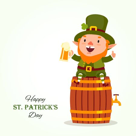 St.Patrick s Day. Leprechaun sits on a barrel with a pint of beer in his hand. Traditional national character of Irish folklore. Element of the set of leprechauns 07. Festive collection. Isolated