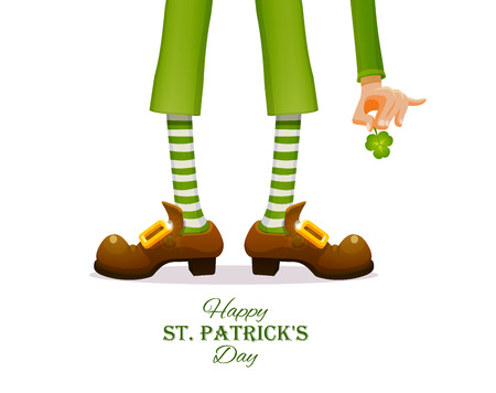 St.Patrick s Day. Legs of a leprechaun and Patricks hand with a shamrock clover. Humorous vector illustration for festive design.
