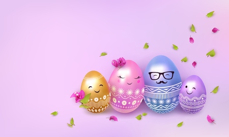 Happy easter. 3d painted egg. Eggs family: father, mother and children. Flowers, leaves, petals. Cute Easter background. Copy space for text. Vector illustration