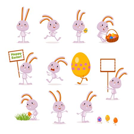 Easter bunnies and eggs. A set of cute emotional characters for a Christian holiday. Elements for festive design. Vector illustration