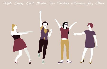 Group of girls, students, teenagers are dancing. Trendy isolated people characters on a beige background. Trendy color scheme. Womens Day, March 8. Çizim