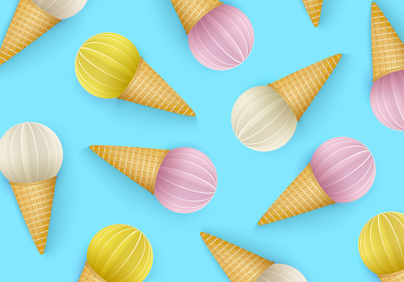 Summertime, Ice cream cone background, 3D, Punchy Pastels style. Regular pattern with abstract images of ice cream in paper cut style. Minimal summer food concept. Vector illustration.