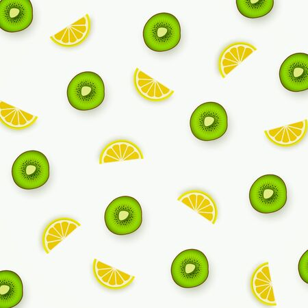 Colorful pattern of lemons and kiwi. Abstract image of fruit, minimalistic style. Top view of citrus and kiwi segments. Summer food concept. Vector illustration 일러스트