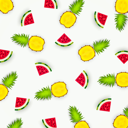 Colorful pattern of pineapple and watermelon. Abstract image of fruit, minimalistic style. Top view of pineapple and watermelon segments. Summer food concept. Vector illustration