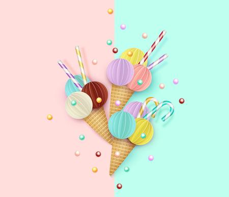 アイスクリームコーン、背景、3D、パステル。ペーパーカットスタイルのアイスクリームの抽象的な画像。ミニマルな夏の食べ物のコンセプト。ベク