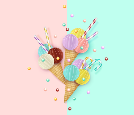 Ice cream cone, Background, 3D, Pastel. Abstract images of ice cream in paper cut style. Minimalistic summer food concept. Vector illustration.