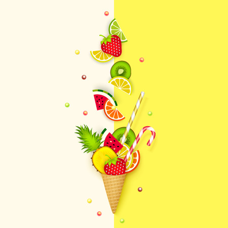 Ice cream, Fruit, 3D, Pastel. Abstract background with ice cream cone, lime, lemon, orange, kiwi and watermelon in paper cut style. Minimalist pastel summer food concept. Vector illustration Illustration