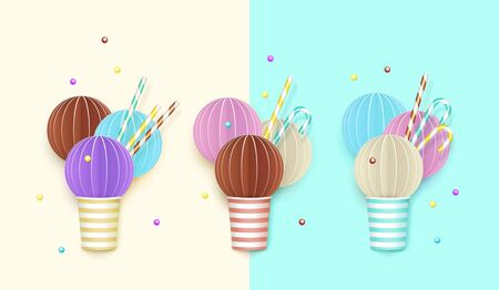 Set of ice cream cups background, 3D, pastel. Paper cut style abstract images of ice cream with straws, candies and chewing sweets. Summer food concept vector illustration.