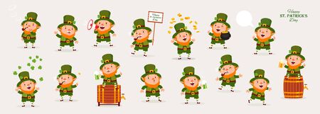 Leprechaun,   Collection of Emotional Characters in Different Situations, Isolated Objects  Vector Illustration. Ilustracja