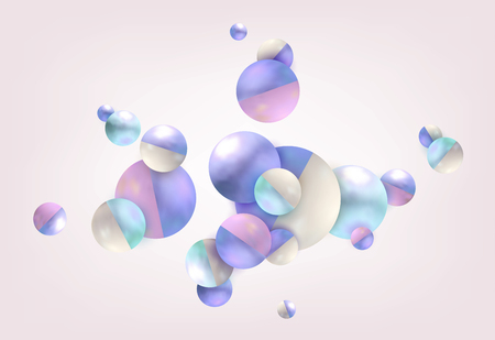 3d Abstract balls lilac background.