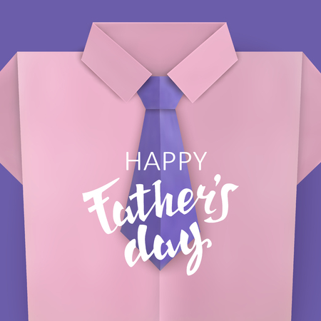 Father's Day Celebratory background with a classic shirt and tie. Paper cut Vector illustration  イラスト・ベクター素材