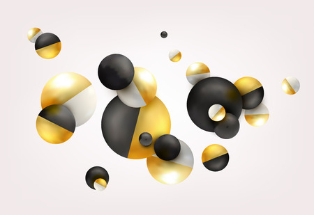 3d balls fly, chaotic fall. Abstract gold, black, white background Vector illustration.