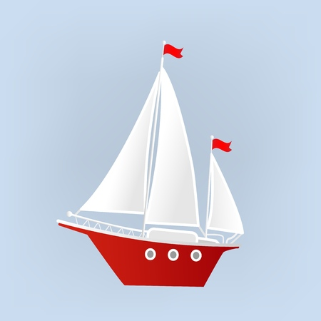 Ship, Yacht, Sailboat. Isolated object. Element for design. Vector illustration. Illustration