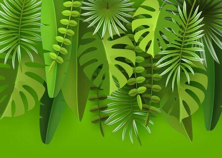 Foglie e piante tropicali. Sfondo astratto verde con fogliame tropicale.
