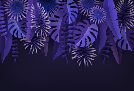 Tropical leaves and plants. Ultraviolet abstract background with tropical foliage. Illustration