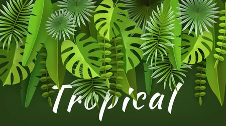 Tropical leaves and plants. Green abstract background with tropical foliage. A volumetric image. Cut paper. Vector illustration