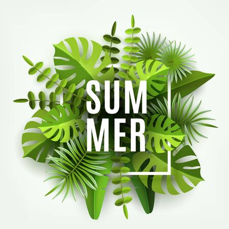 Trendy Summer Tropical Leaves and Plants. Green abstract background with tropical foliage.