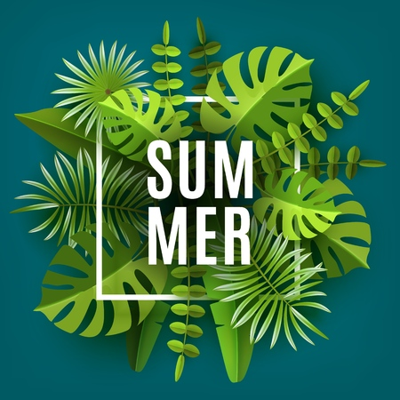 Trendy Summer Tropical Leaves and Plants. Green abstract background with tropical foliage. Cut paper. Vector Design Illustration