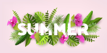 Trendy Summer Tropical Leaves and Plants. Green abstract background with tropical foliage. Cut paper vector Design