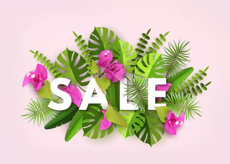 Summer Sale with Trendy Tropical Leaves, Plants Flowers Bougainvillea.