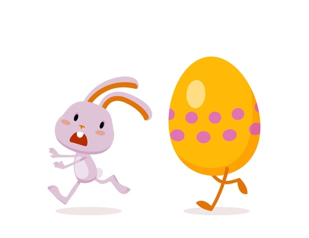 Easter Rabbit and Eggs. Funny Easter Bunny. A set of cute emotional characters for a Christian holiday.