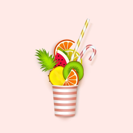 Cocktail of fruit falling in a glass, 3d, Pastel.  Vector illustration