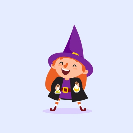 Halloween Witch laughs and holds the bottle with the potion