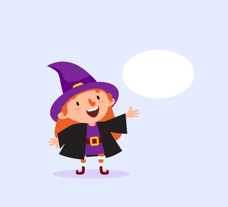 Halloween Witch with bubble for text Girl in witch costume smiling Funny character Isolated element from the set for festive design and advertising Vector illustration Vettoriali