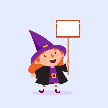 Halloween Witch holding a poster with place for text in hand