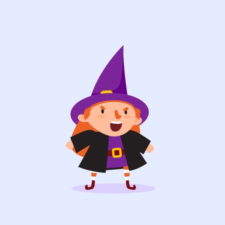 Halloween Witch shouting Girl in a witch costume Funny character Isolated element from the set for a festive design and advertising Vector illustration