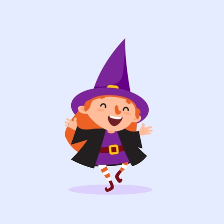 Halloween Witch laughing and dancing Girl in the witch costume having fun Cute character Isolated element from the set for a festive design and advertising Vector illustration Vettoriali