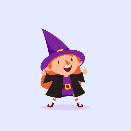Halloween Witch holding thumbs up gesture of approval Girl in witch costume Funny character Isolated element from the set for festive design and advertising Vector illustration