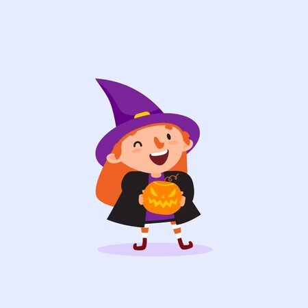Halloween Witch holding pumpkin in hands and laughing Vettoriali