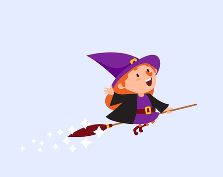 Halloween Witch flying on a broom Funny character Isolated element from the set for a festive design and advertising Vector illustration Vettoriali