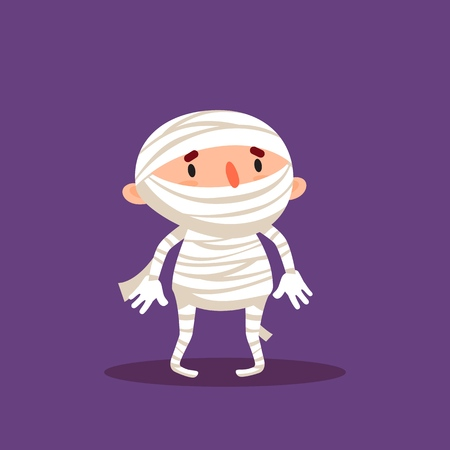 Mummy Halloween Child in mummy costume Trick or treat Element from collection.