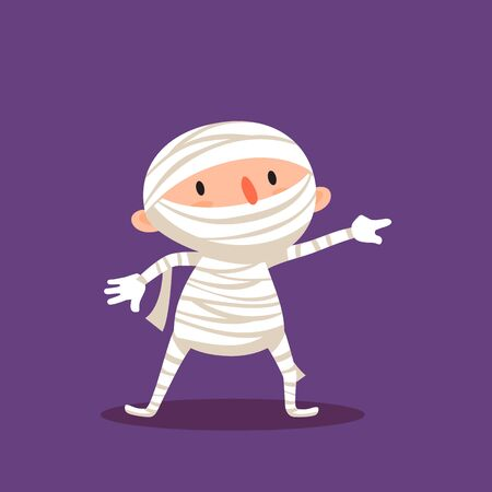 Mummy Halloween Child in mummy costume Trick or treat Element from collection of emotional characters for festive or advertising design Isolated vector illustration
