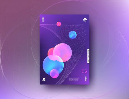 Abstract banner A4 with liquid bubbles shapes and lines. Corporate template for banner poster cover flyer 3d design elements. Vector illustration.
