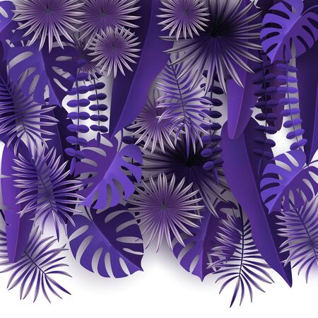 Tropical leaves and plants Ultraviolet abstract background with tropical foliage Isolated on white background Volumetric image Cut paper Vector illustration Illustration
