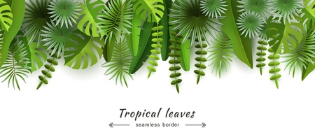 Tropical leaves Seamless border Isolated on white background Abstract horizontal background for summer and seasonal design travel advertising and tourism Volumetric image Cut paper Vector illustration