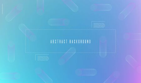 Blurred gradient banner with abstract flat geometric shapes in Memphis style Gently blue pastel background