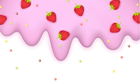 Melting ice cream sprinkled with strawberry and lollipops 3d light pink pastel border isolated on a white background Ice cream with slices berries Sweet delicacy Vector illustration