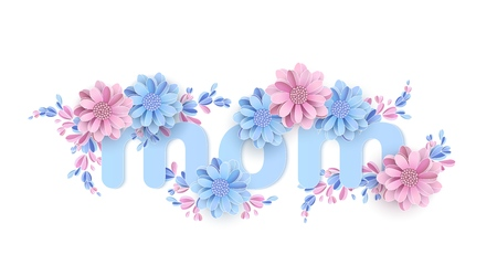 Mom Word decorated with paper flowers Happy Christmas Tree. Women's Day, March 8 Paper cut Floral greeting card.
