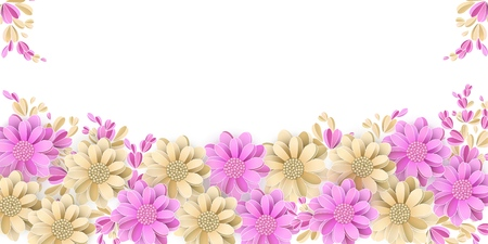 Floral border isolated on white background Pastel light yellow and pink flowers with 3d elements Vector illustration