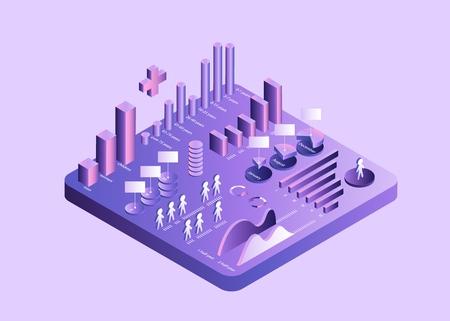 Izometryczny diagram wzrostu i dystrybucji wektora 3D Medycyna Opieka zdrowotna Gradient ultrafioletowy izolowana wyspa Wiek socjologiczny i profil edukacyjny grup ludności Wektor