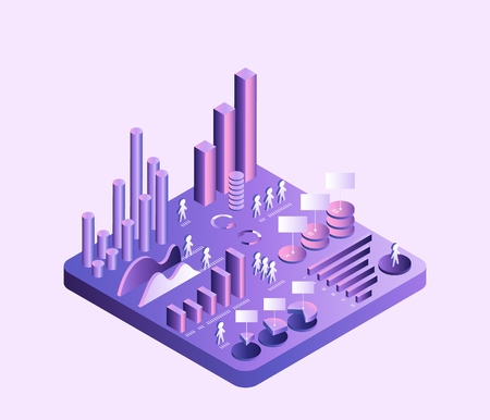 3d vector isometric diagram Concept of growth and distribution Medicine Health Education Education Business Sociology Gradient ultraviolet isolated island Illusztráció