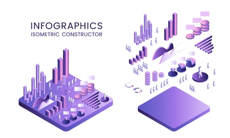 3d vector isometric diagram of the concept of growth and distribution Constructor Set of elements for creating infographics Gradient ultraviolet isolated island Vector