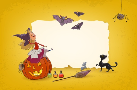 Halloween background with young witch sitting on pumpkin, broom, spiders, mouse, cat, poison bottles Free space for selling text Festive advertising banner, poster for party and holiday sales