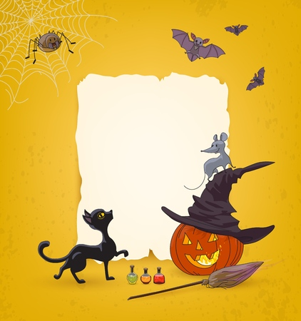 Halloween Festive advertising background with pumpkin, spider, cobweb, broom, hat, cat, mouse, bats, poison bottles and free space for advertising text of sale or discounts or invitations to party