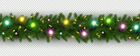 Christmas and New Year border of realistic branches of Christmas tree, garland, serpentine Element for festive design isolated on transparent background Vector Ilustracja